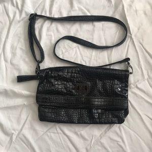 Black faux reptile skin purse